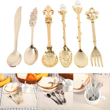 6Pcs/Set Tea Spoons Coffee Dessert Ice Cream Dessert Table Soup Spoons Cooking Kitchen Tools Dining Bar Accessories Tableware