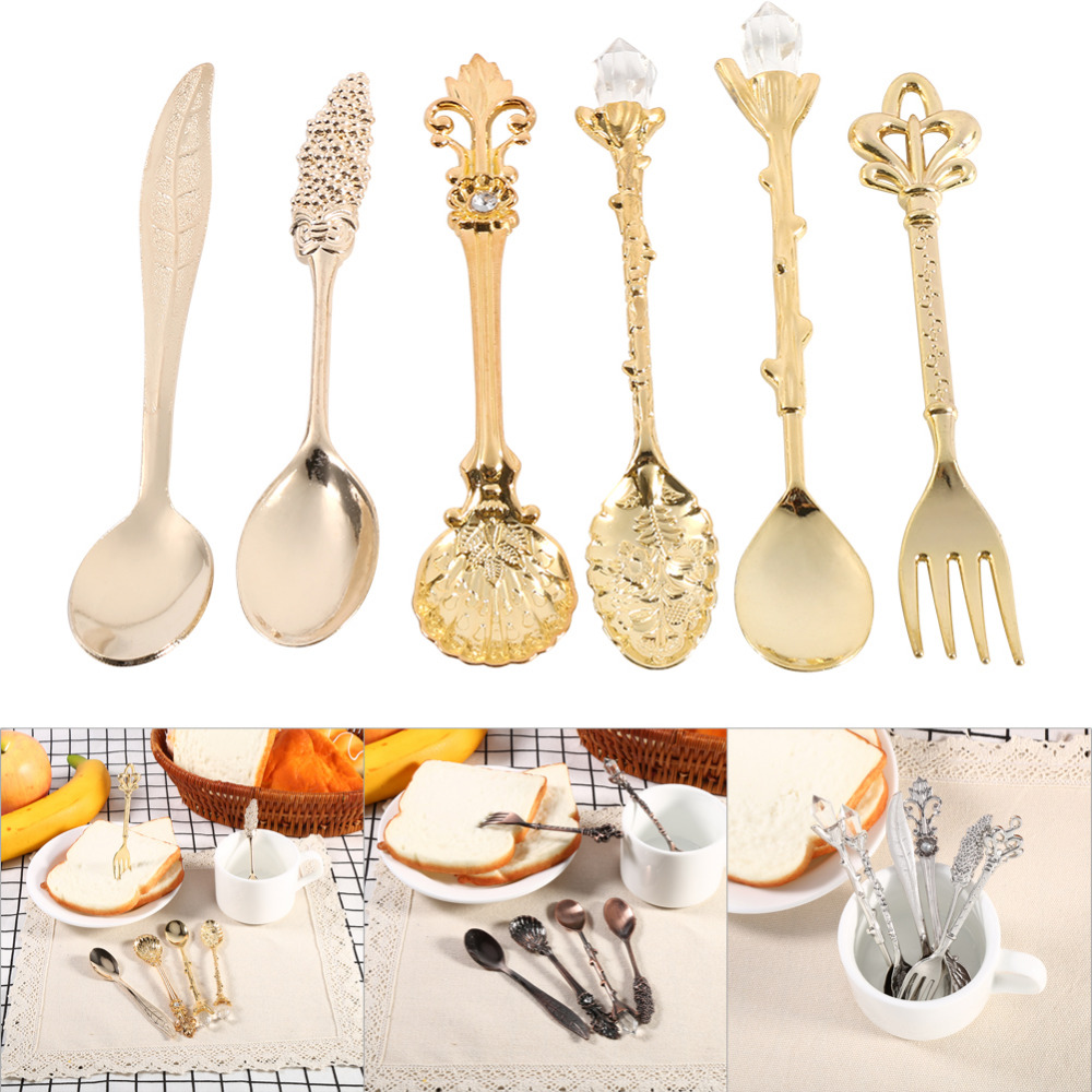 6Pcs/Set Vintage Royal Style Bronze Carved Small Coffee Tea Spoon Mini Dessert Spoon For Snacks Flatware Cutlery Tableware(China (Mainland))