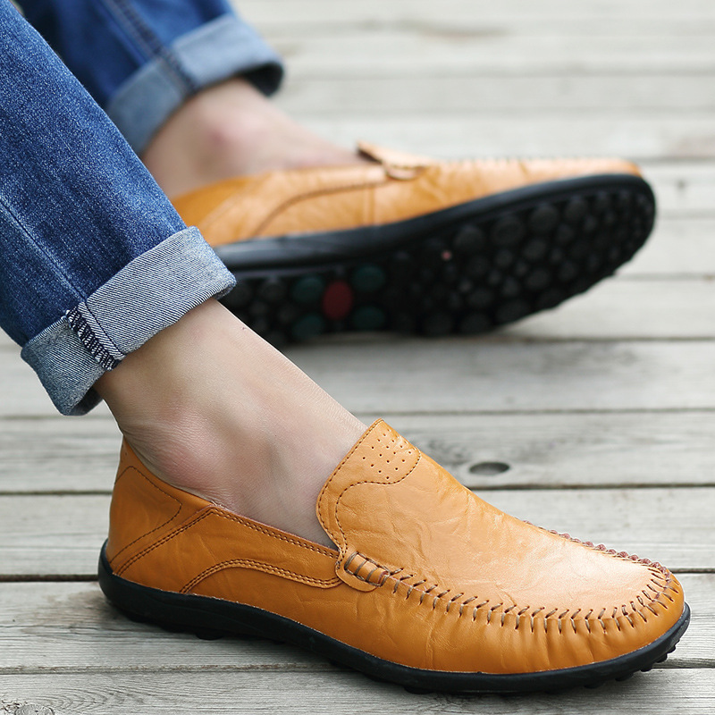 Fashion Spring Summer Genuine Leather Soft Loafers for Men Slip On Moccasins Boat Flats Shoes size 39-47<br>