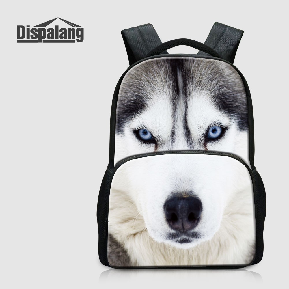 Dispalang Dog Husky Child School Backpacks Animal Wolf Tiger Printed Rucksack For Teenage Boys Primary Students Bookbags Mochila<br>