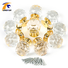10pcs/lot Round 30mm gold base clear crystal sparkle door kids dresser drawer cabinet knobs and handles pulls Gate Knob(China)