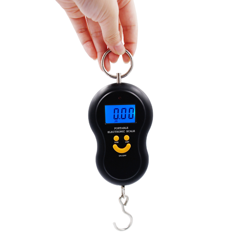100pcs/lot by dhl fedex Electronic Luggage Weight Fishing Hook Scale Weighing balcance 50kg * 10g LCD display 5