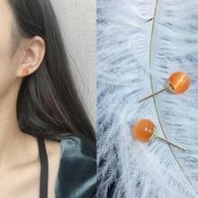 ed 034 2017 simple retro crystal glass ball texture fine earrings female most beautiful clothing accessories factory direct(China)