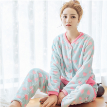 Flannel Women Pajamas Sleepwear Coral Fleece Homewear Plus Size XXL Pajamas Women Sleepwear Sweet Flannel Pajama Set Nightie 256