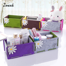 Table Cosmetic Organizer Storage Box Bin Felt Flower Office Container Desktop Desk Makeup Sundries Holder Removable Decor Case