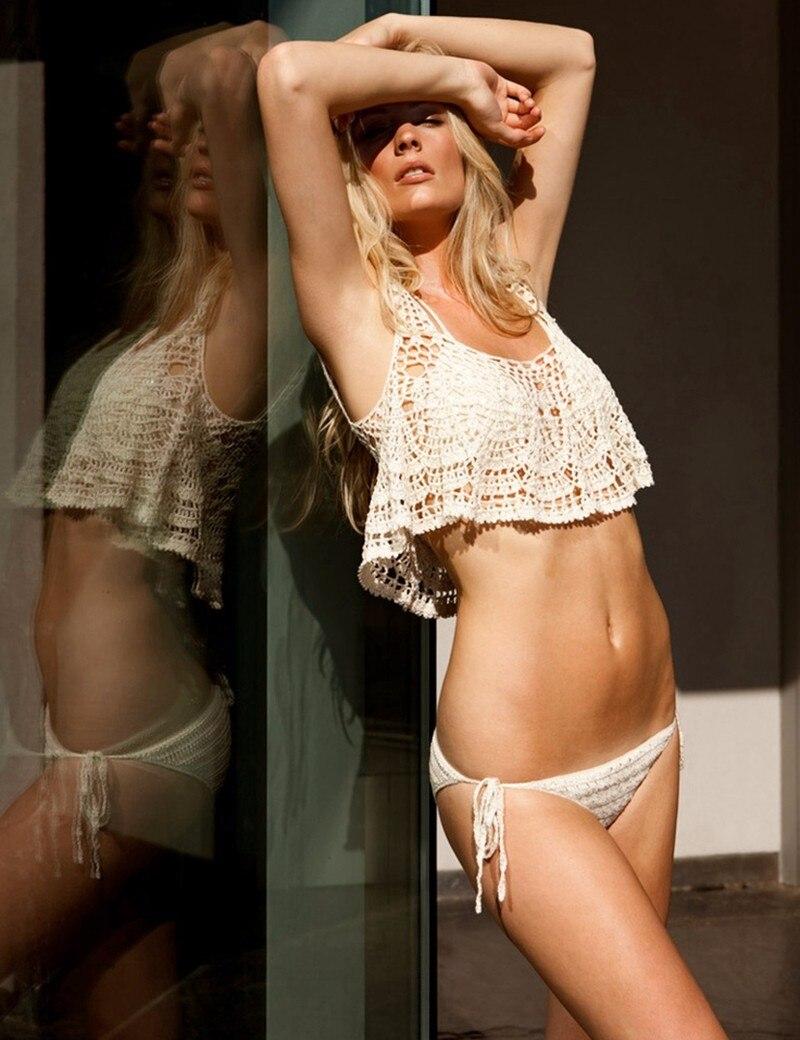 3 PIECES in ONE SET! Womens Halter Neck Crop Top Knit Ruffled Crochet Bikini Bandage Lace Swimwear Summer Push Up Bra Swimsuit<br><br>Aliexpress