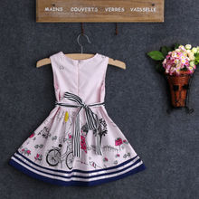 2017 Pink Kids Baby Girls Summer Beauty Anime Dress Cartoon Love One-piece 2-7Y