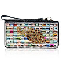 Women Day Clutches Bags Fashion Peacock Rhinestone Crystal Evening Bags Genuine Leather Ladies Designer Wallet 2017 New Style