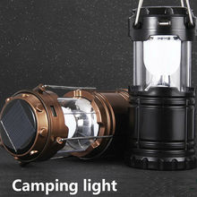 New style Multifunction 6 LEDs Rechargeable Light Collapsible Solar Camping Lantern Tent Lights for Outdoor Camping Hiking