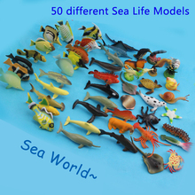 50 pcs Small Size Sea Life Model Toys PVC 4-7cm Pool Fish Toy Early Education Marine Animals Figure Set Great Gift For Children(China)