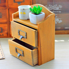 Wooden Storage Box Craft Retro wall hanging buy things case two drawers Carved Desktop Decor(China)
