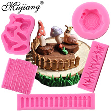 Mujiang Snail Mushroom Silicone Mold Cartoon Animals Candy Chocolate Molds Grass Fence Bark Texture Fondant Cake Decorating Tool(China)