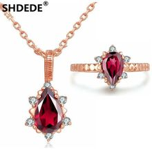 SHDEDE 925 pure silver rose gold pear shaped pendant necklace Ring set of natural garnet fashion light luxury treasure(China)