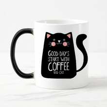 Super Cool cat Mugs Color Change Ceramic Coffee Mug and Cup Fashion Gift Heat Reveal Magic Mugs for Friend(China)