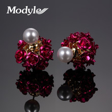 Modyle New Unique Hollow Balls Design Double Side Flower Stud Earring Gold-Color Earrings Christmas Gift for Women(China)