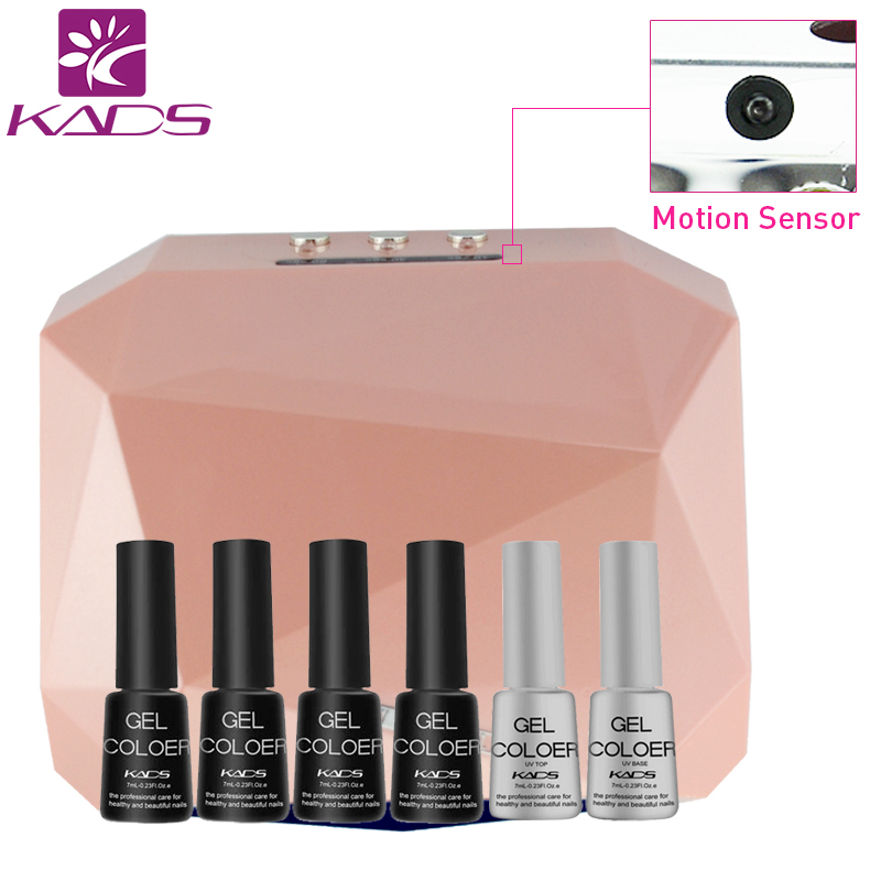 KADS 36W Sense LED UV Lamp Nail Lamp Dryer &amp; 4pcs Gel Polish + Top &amp; Base Coat Set Nail Dryer UV Gel Nail Lamp<br>