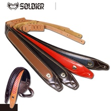 Soldier England Series Full Top Premium Genuine Leather Adjustable Guitar Strap for Acoustic/Electric/Bass Guitar