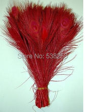 Free shipping red dyed peacock feather 100pcs/lot length 25- 30 cm 10-12 inch peacock feathers wedding decorations wholesale