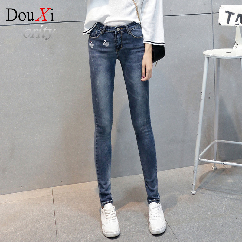2017 New Fashion Women Jeans warm Skinny Embroidery Pencil Pants Jeans Middle waist size 26-31Одежда и ак�е��уары<br><br><br>Aliexpress