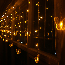 8M 192 Bulbs Butterfly Cortina De LED String Lights Fairy Christmas Light Holiday Lighting LED Curtain Icicle Lamps Guirlande