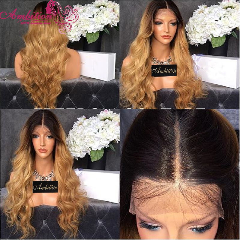 T27 Blonde Omber Middle Part 150% Full Density Virgin Brazilian Human Hair wigs Glueless Front Full Lace Wig Natural Hairline<br><br>Aliexpress