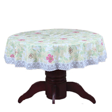 PVC Pastoral round table cloth waterproof Oilproof non wash plastic pad plus velvet anti hot coffee tablecloth 37cm No11