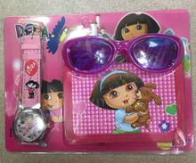 6 X Cartoon Dora Wristwatch watch and Purses Wallets Glasses Set Toy Gift  WS07