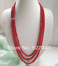Wholesale free shipping >>collectables Beautiful 3 row Authentic red Natural coral necklace 22inch
