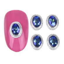 10Pcs/Lot Glitter Silver Plated 3D Alloy Nail Charm Blue Zircon Stone Nail Art Decoration Women Cheap Nail Tool Wholesale MA0698