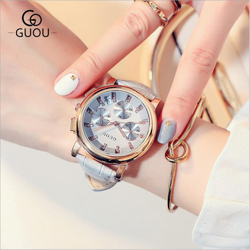 GUOU Watches Fashion Diamond Watch Women Top Luxury Rhinestone Auto Date Womens Watch Leather Clock Women relogio feminino<br>