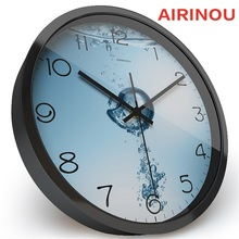 Airinou Pure Water And Air Cause Bubble Glass Metal Living room, Bathroom Wall Clock ,save Water Protection Or Water Production(China)