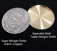 Expanded Shell + Copper Morgan Coin Magic Set Coin Appearing Tricks Coin Magic