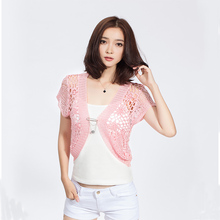 New Fashion 2017 Hand Knitted Women Short Sleeve Cardigan Hollow Out Open Stitch Women Shrugs Crochet Lace Shrug Sweater