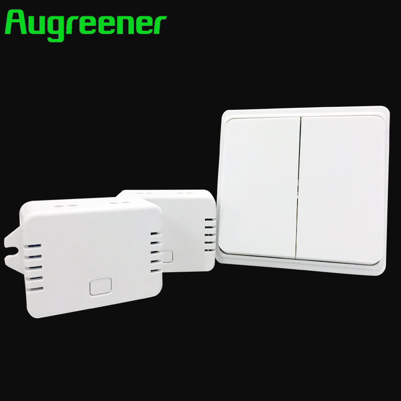 Augreener 2017 New Arrival Remote Control Switch 220V Light Switch Push Button Waterproof 70m Long Range 2 Gang Free Shipping <br>