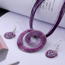 ZOSHI African Jewelry Sets Silver Plating Circle Vintage Multilayer Leather Chain Earring Pendant Necklace Set Wholesale Jewelry