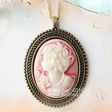 Vintage resin lady cameo pendant necklace,cameo size 28*37mm, necklace length 45cm,fashionable jewelry necklaces
