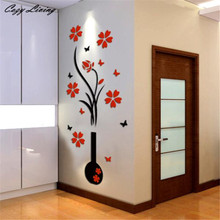 DIY Vase Flower Tree Crystal Arcylic 3D Wall Stickers Decal Home Decor Rooms Decorations Art Accessories Supplies D13(China)