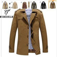 2017 New Arrival Cheap Style Man Trench Coat Fashion Brand Single Breasted Turn-down Collar Long Trench Coat for Man 5XL Plus