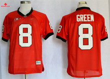 Nike Georgia Bulldogs A.J Green 8 College Boxing Jerseys - Red Size M,L,XL,2XL,3XL(China)