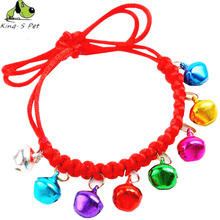Adjustable Pet Collars Dog Collar Hand Knitting Fashionable Bell Necklace Colourfast Quality Jade Line Comfortable Free Shipping(China)