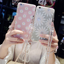 Painted Case For iPhone 6 6s Plus 7 7 plus Neck Female Mobile Phone Sets of Silicone Diamond Sunflowers Cover With Phone Straps