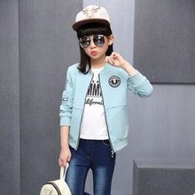 2017 New Spring Fashion Girls Outwear&Coats Children Casual Sports Jacket Female Kids 2 Colors Spring Section Baseball Coat(China)