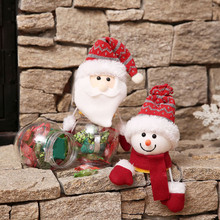 2018 New Year plastic Candy jar Santa Claus Snowman Elk Dessert Storage Bottle Packaging Storage Tank for Wedding Christmas(China)