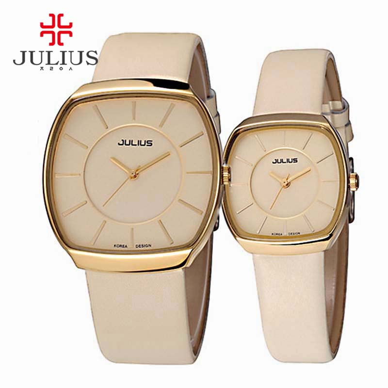 Julius Couple Leather Pair Watches Square Face His and Hers Lovers Wedding Watches Japan Quartz Movt 30m Waterproof Clock JA-669<br>
