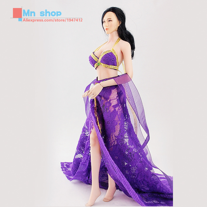 1/6 Scale Action Figure Clothes Accessories Purple Chinese Style Sexy Open Dress  For 12 Action Figure Toys<br>