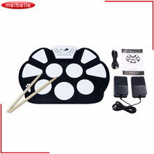 New Professional Roll up Drum Pad Kit Silicon Foldable with Stick Portable Drum Electronic Drum USB Drum(China)