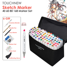 TOUCHNEW 40/60/80/168 Color Graphic Marker Pen Set Sketch Touch Art Markers Alcohol Based Art Supplies Manga With 6 Gifts