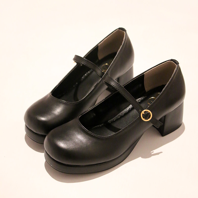 Japanese Style Chunky Heel Lolita Pumps With Platform New 2017 Ladies Round Toe Thick Heel Cos Shoes Buckle Strap Free Shipping<br>