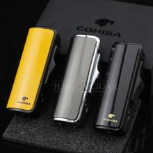 COHIBA Practical Fashion Refillable Butane Gas 3 Torch Jet Flame Windproof Metal Cigarette Cigar Lighter W/ Gift Box