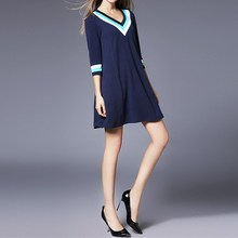 Spring Autumn Dress Long Sleeve Casual Dresses Ladies Blue V Neck Varsity Striped Jersey Sweatshirt Dress